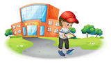 A boy holding a gadget near the school. Illustration of a boy holding a gadget near the school on a white background Royalty Free Stock Photography