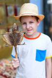 Boy holding gecko on stick Stock Photos
