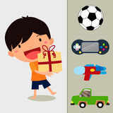 Boy Holding a Gift in a Beautifully Wrapped Box. Eps10 Illustration stock illustration