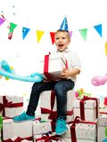 Boy holding gift box Royalty Free Stock Photos