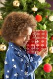 Boy Holding Gift In Front Of Christmas Tree Stock Image