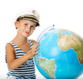 Boy holding a globe Royalty Free Stock Photo
