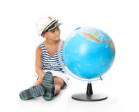 Boy holding a globe Stock Photo
