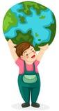 Boy holding globe Stock Images