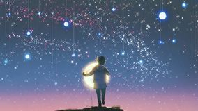 Boy holding glowing moon standing against hanging stars. The boy holding glowing moon standing against hanging stars in the beautiful sky, digital art style Stock Image