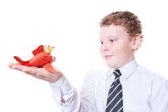 Boy holding a goldfish out of plasticine. Figure goldfish made of plasticine Stock Image