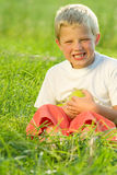Boy holding green apples Stock Photos