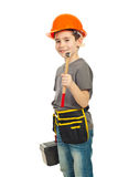 Boy holding hammer and tools box. Boy with helmet holding hammer and tools box isolated on white background Stock Photography