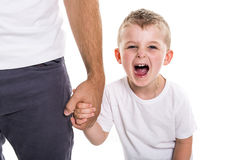 Boy holding hands of his father standing against white background. A Boy holding hands of his father standing against white background stock image