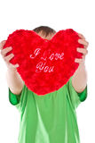 Boy holding a heart Royalty Free Stock Photo