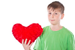 Boy holding a heart royalty free stock image