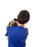 A boy holding his dog royalty free stock images