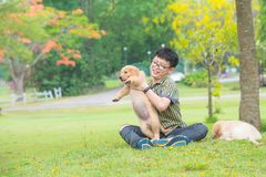 Boy holding his dog and smiles in park stock photo
