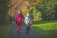 Brother and sister on a walk royalty free stock photos