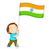 Boy Holding Indian Flag Stock Images