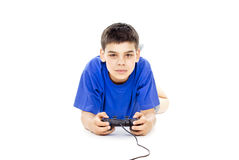 Boy holding the joystick Royalty Free Stock Photos