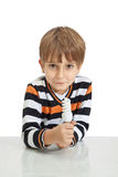 Boy holding a lamp Stock Photo
