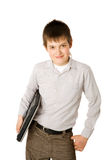 Boy holding laptop Royalty Free Stock Image