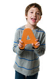 Boy holding the letter A Stock Photography