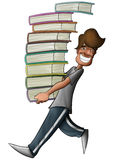 Boy holding a lot of books Royalty Free Stock Photography