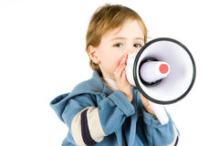 Boy Holding Loudspeaker Stock Photography