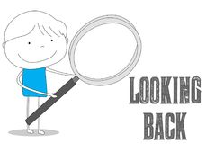Loupe holding boy looking back, cartoon style illustration. Boy holding a loupe glass to looking back, hand drawn cartoon style illustration sketch Royalty Free Stock Photos