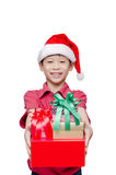 Boy holding many present boxes and smiles Stock Photography