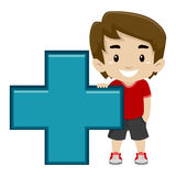 Boy holding Math Addition Symbol stock illustration