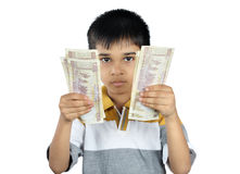 Boy Holding the money with Expression Stock Images