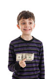 Boy holding money Royalty Free Stock Photos