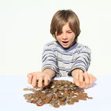 Boy holding money Royalty Free Stock Image