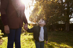 Boy Holding Mother`s Hand On Autumn Walk in Garden Stock Image