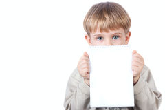 Boy holding notebook isolated Stock Image