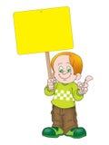 Boy holding noticeboard Royalty Free Stock Photos