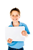 Boy holding paper Royalty Free Stock Photos
