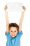 Boy holding paper Royalty Free Stock Image