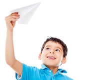 Boy holding a paper airplane Stock Photography