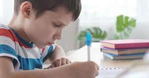 Boy holding pen doing his homework. In notebook stock video footage