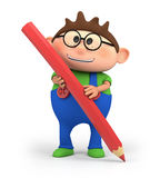 Boy holding pencil. Cute little cartoon boy holding a red pencil - high quality 3d illustration Royalty Free Stock Photography