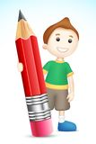 BOy holding Pencil stock illustration