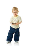 Boy holding phone Royalty Free Stock Images