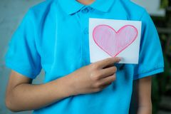 Pink paper heart stock photo