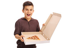 Boy holding a pizza box Stock Photos