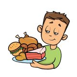 Boy holding plate full of junk food. Overeating. Cartoon design icon. Flat vector illustration. Isolated on white vector illustration