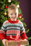 Boy Holding Present In Front Of Christmas Tree Stock Photo