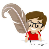 Boy holding a Quill pen Stock Photo