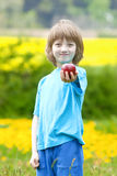 Boy Holding Red Apple in the Garden Royalty Free Stock Photography