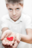 Boy holding red heart love valentine's Royalty Free Stock Photos