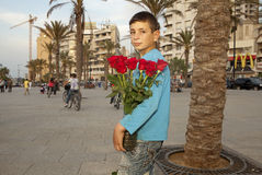 A boy holding red roses, Beirut. A boy holding a vase of red roses, Beirut Stock Images