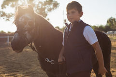 Boy holding the reins of a horse in the ranch Royalty Free Stock Photo